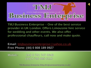 Hiring Chauffeur Service London From TMJ Business Enterprise