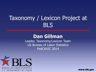 Taxonomy / Lexicon Project at BLS