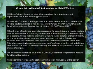 Corcentric to Host AP Automation for Retail Webinar