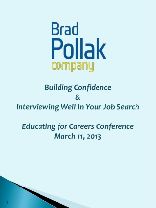 Building Confidence  & Interviewing Well In Your Job  Search Educating for Careers Conference March 11, 2013