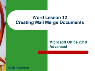 Word  Lesson  12 Creating Mail Merge Documents