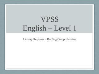 VPSS English � Level 1