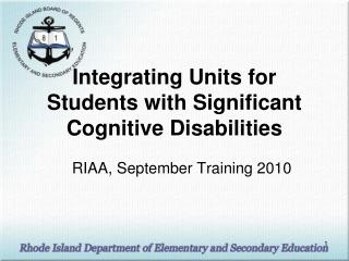 Integrating Units for Students with Significant Cognitive Disabilities