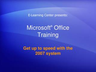 Microsoft �  Office  Training