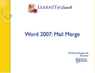 Word 2007: Mail Merge