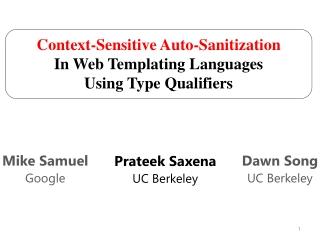 Prateek Saxena UC Berkeley
