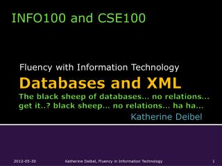 Databases and XML The black sheep of databases… no relations… get it..? black sheep… no relations… ha  ha …