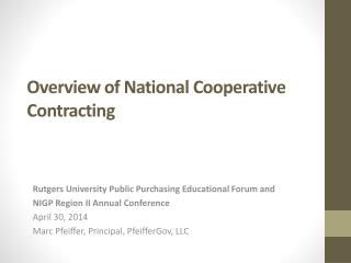 Overview of National Cooperative Contracting