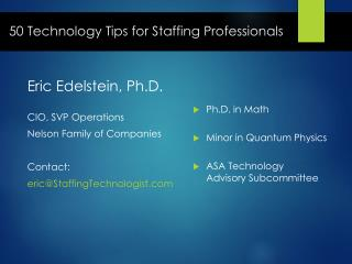 50 Technology Tips for Staffing Professionals