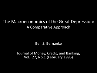 The Macroeconomics of the Great Depression:  A Comparative Approach