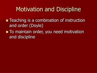 motivation and discipline