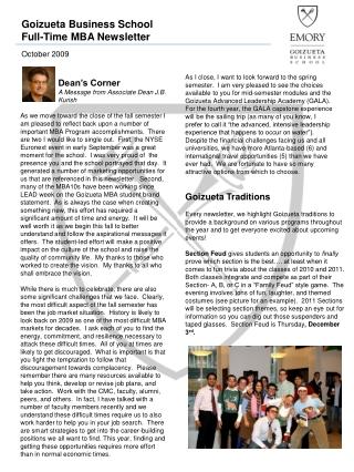 Dean's Corner                      A Message from  Associate  Dean J.B.            Kurish