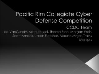 Pacific Rim Collegiate Cyber Defense Competition