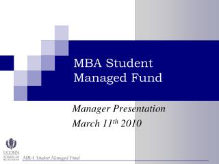 MBA Student  Managed Fund