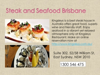 Steak and Seafood Brisbane