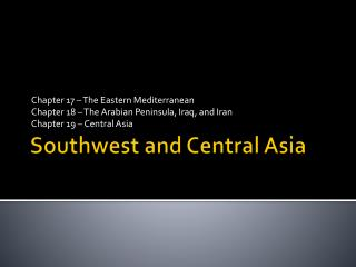 Southwest and Central Asia