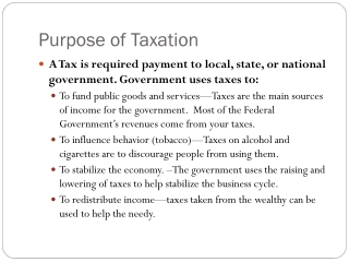 Purpose of Taxation