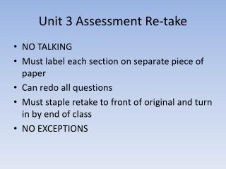 Unit 3 Assessment Re-take
