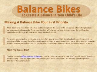 Making A Balance Bike Your First Priority