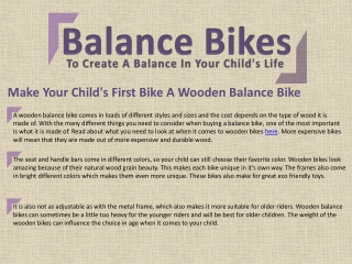 Make Your Child's First Bike A Wooden Balance Bike