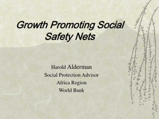 growth promoting social safety nets