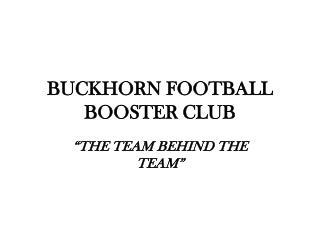 BUCKHORN FOOTBALL BOOSTER CLUB
