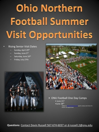 Rising Senior Visit Dates Sunday, April 29 th Sunday, June 3 rd Saturday, June 16 th Friday, July 27th