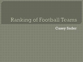 Ranking of Football Teams