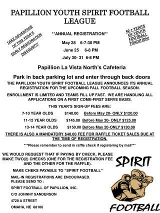PAPILLION YOUTH SPIRIT FOOTBALL LEAGUE