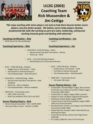 U12G (2003) Coaching Team Rick Mussenden &  Jim Cettiga