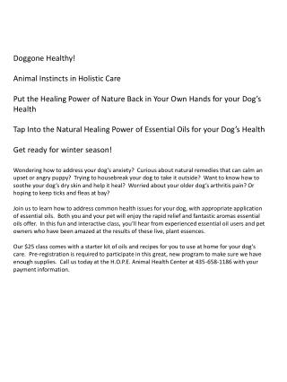 Doggone Healthy! Animal  Instincts in Holistic Care Put  the Healing Power of Nature Back in Your Own Hands for your Do