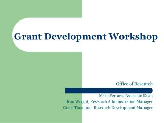 Grant Development Workshop