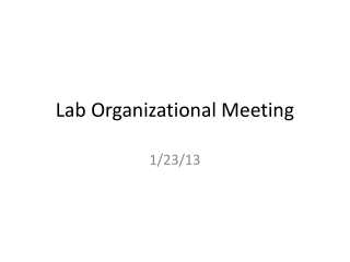 Lab Organizational Meeting