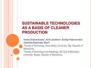 SUSTAINABLE TECHNOLOGIES AS A BASIS OF CLEANER PRODUCTION