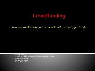 Crowdfunding Startup and Emerging Business Fundraising Opportunity