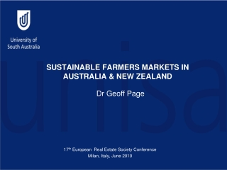 SUSTAINABLE FARMERS MARKETS IN AUSTRALIA & NEW ZEALAND