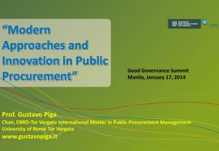 """ Modern Approaches  and  Innovation  in Public Procurement"""