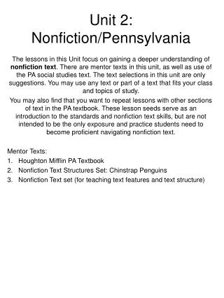Unit 2:  Nonfiction/Pennsylvania