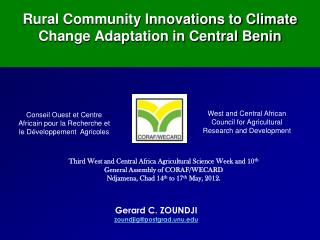 Rural Community Innovations to Climate Change Adaptation in Central Benin