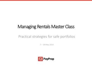 Managing Rentals Master Class