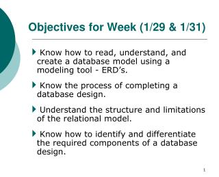Objectives  for Week (1/29 & 1/31)