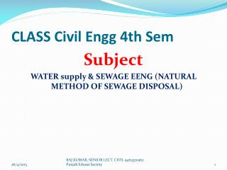 CLASS Civil Engg 4th Sem