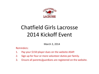 Chatfield Girls Lacrosse 2014 Kickoff Event
