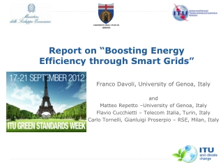 "Report  on ""Boosting Energy Efficiency through Smart Grids"""