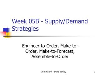 Week 05B - Supply/Demand  Strategies