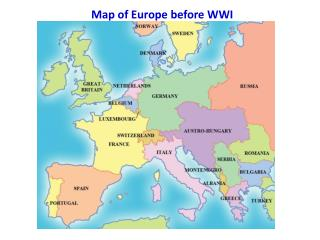 Map of Europe before WWI