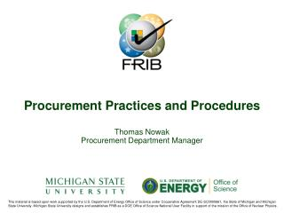 Procurement Practices and Procedures
