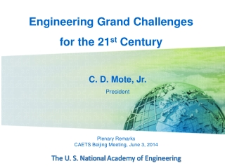 Plenary Remarks CAETS Beijing  Meeting,  June 3, 2014 The U. S. National  Academy of Engineering