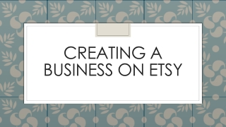Creating a business on  etsy