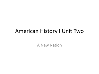 American History I Unit Two